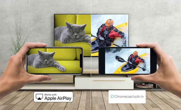 En Android og smartphone, som caster medie til TV fra Sony med Apple AirPlay og Chromecast