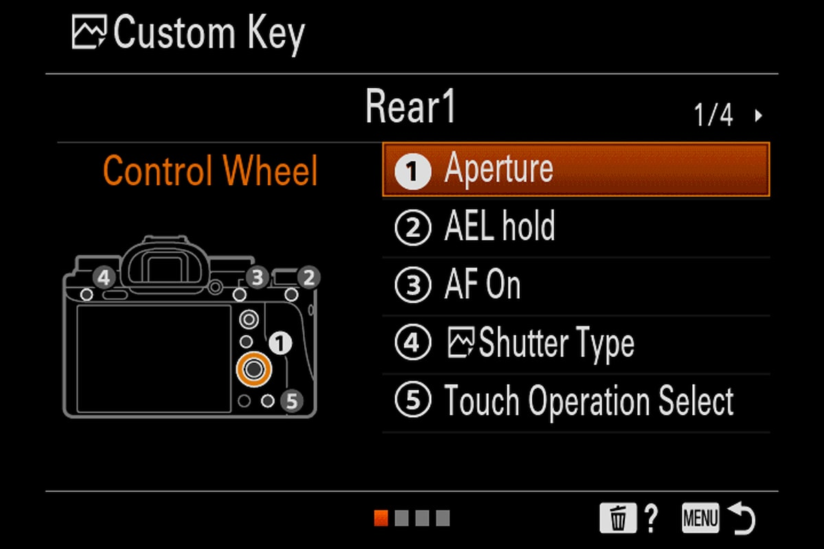 sony alpha 9 menu for brugerdefineret tast
